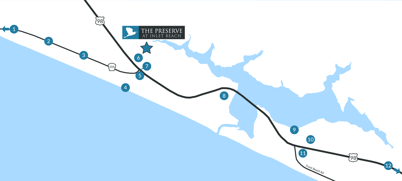 Preserve at Inlet Beach area attractions map